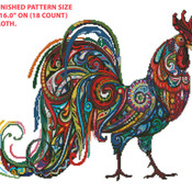 A Vibrant Rooster Cross Stitch Pattern***LOOK***X***INSTANT DOWNLOAD***