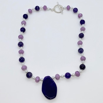 Amethyst Bead, Lavender Bead and White Pearl Necklace with Purple Agate Pendant