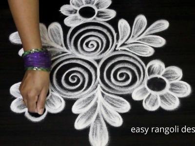 Ancient rangoli art  designs freehand    Cute kolam designs   muggulu for beginners