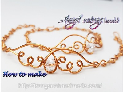 Angel wings bracelet- Simple jewelry for Christmas from copper wire 432