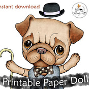 Articulated printable Cut out jointed paper doll pattern Pug lover gift Instant download Digital altered art Party activity Collage sheet
