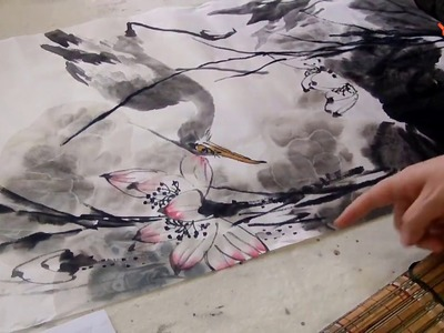 Chinese art painting : Pink Lotus Flower and Stork
