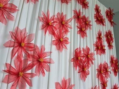 Christmas Poinsettia Ribbon Flower Backdrop DIY | How To