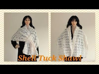 Crochet Easy Shell Tuck Shawl