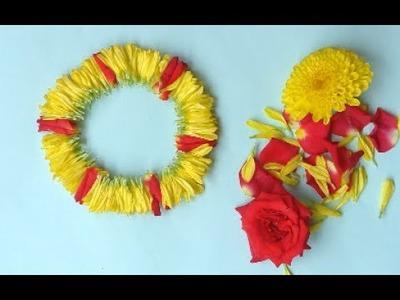 Different method to tie flower.Garland making with rose,chrysanthemum flower   Pola Jadai.veni.gajra