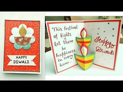 Diwali Card. Diwali Pop Up Diya card.How to make Greeting Card for Diwali.Handmade Diwali Card