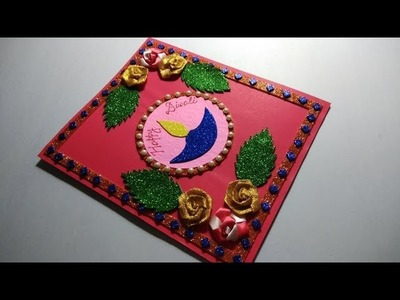 Diwali card. Easy Diwali greeting card making for kids school competition.Diwali Card making ideas