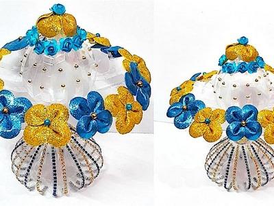 DIY - Guldasta.flower vase from plastic bottle & glitter sheet at home | DIY Foam Flower Guldasta