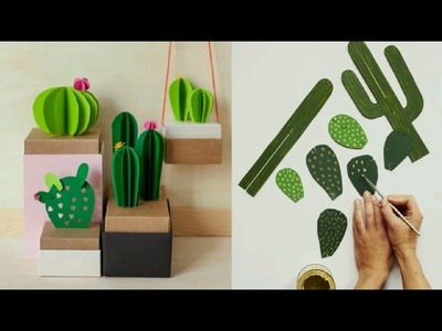DIY Paper Cactus ???? DIY 3D PAPER CACTUS (ORIGAMI) EASY TO DECOR ANY SPACE | room decor 2018