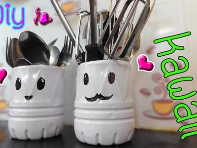 Diy plastic bottle I how to make Spoons and Forks Storage kawaii
