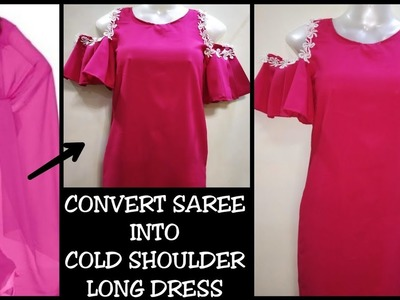 DIY : Recycle.Reuse Old Saree.Dupatta Into Ruffle Pleated sleeves Dress