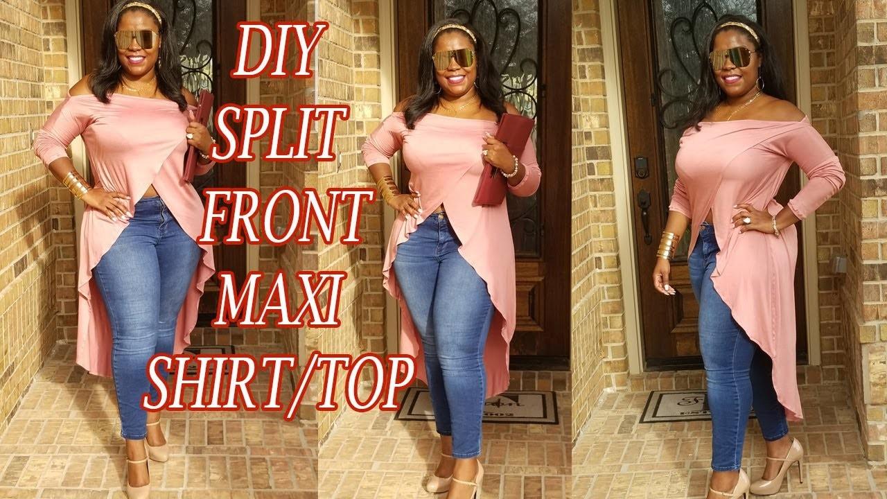 DIY SPLIT FRONT MAXI SHIRT| HOW TO SEW A MAXI SHIRT.TOP EASY