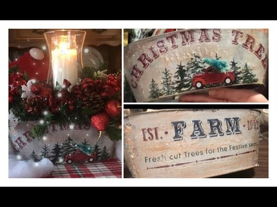 ~DOLLAR TREE CHRISTMAS DIY- Centerpiece - Farmhouse Christmas Decor ~