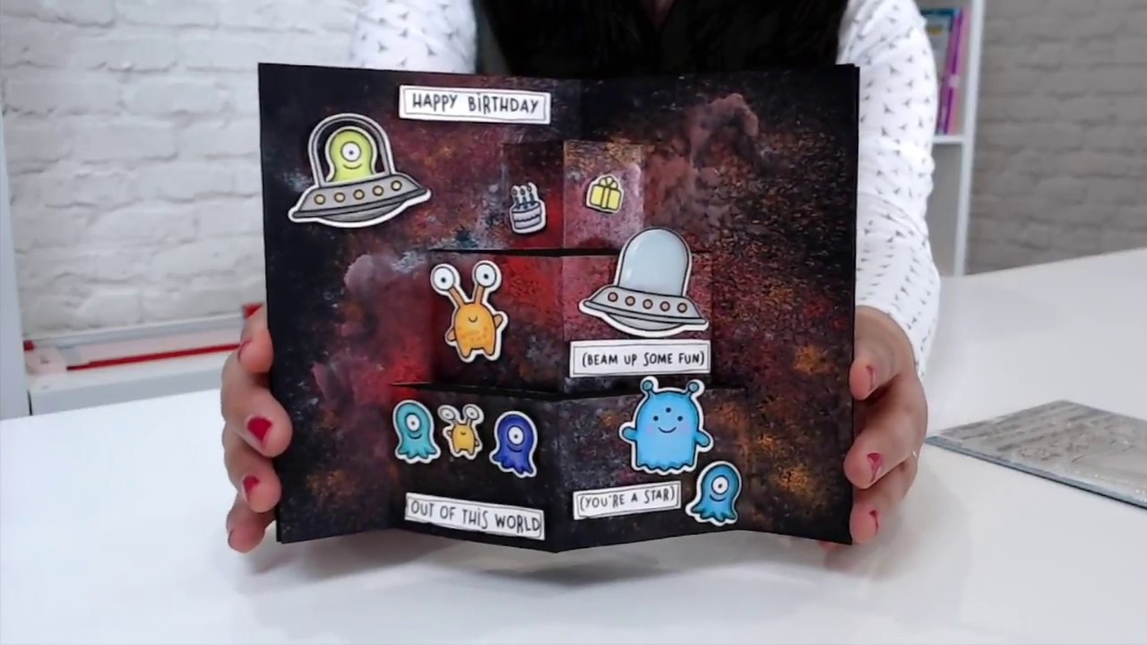 Easy Pop Up Card Tutorial with Galaxy Background