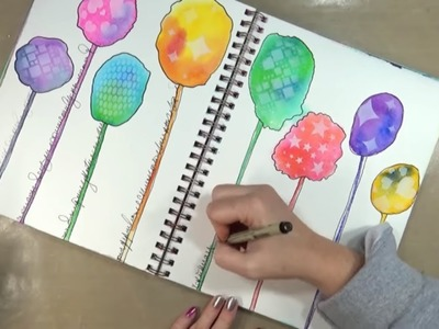 Easy Watercolor Trees - Whimsical Art Journal with Prima Watercolor Confections