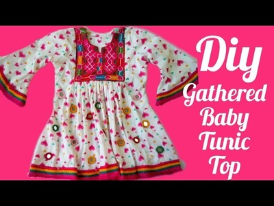 Gathered baby tunic top stylish design for baby girls of 4 years
