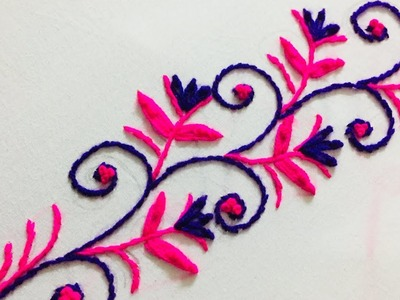 Hand Embroidery border design by nakshi design art