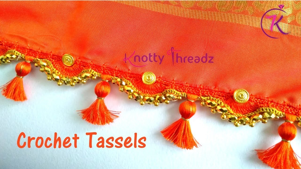 How to do Crochet Saree Tassels with Beaded Kuchu and Gold Beads | www.knottythreadz.com