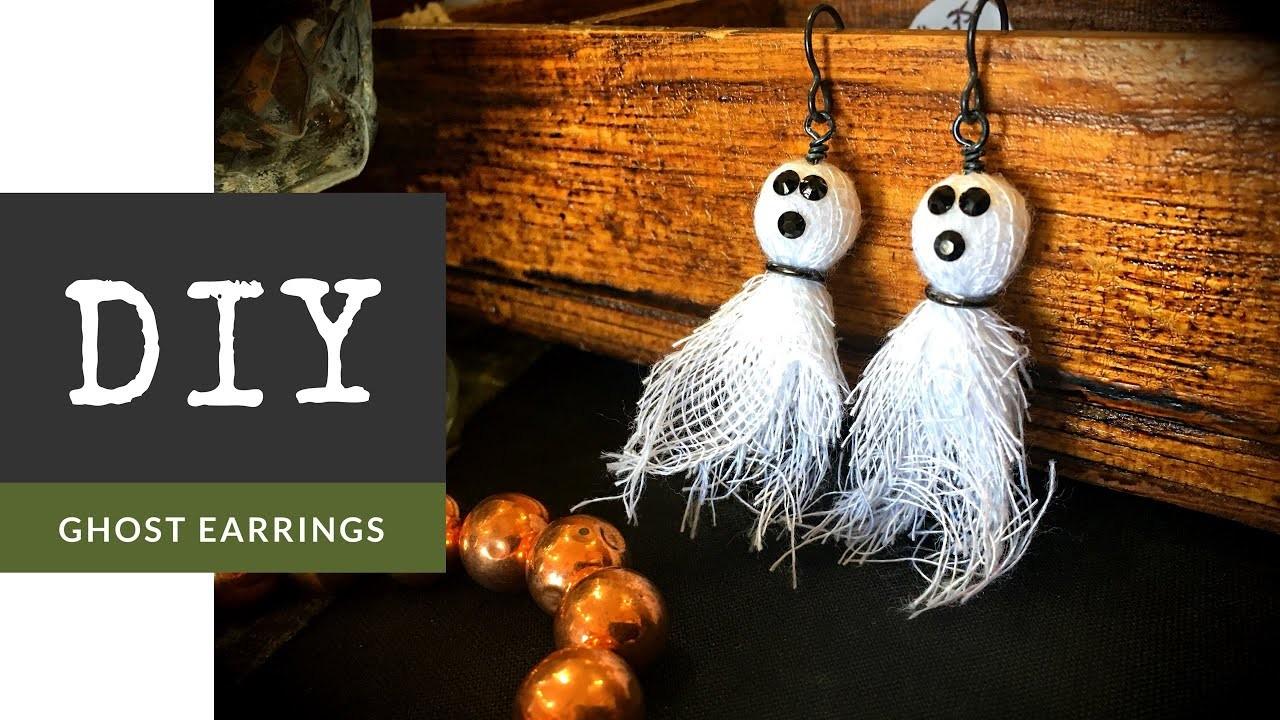 How To Make Beaded Ghost Halloween Earrings
