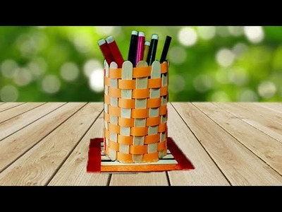 How to Make Pen Stand | DIY Pencil Holder with Ice cream sticks