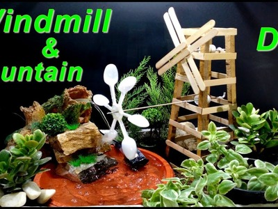How to make Rotating Windmill and Fountain. DIY