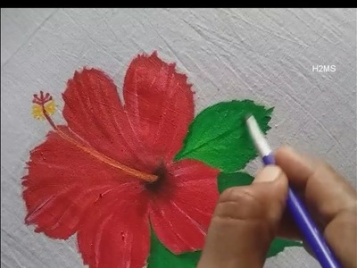 How to make simple hibiscus flower fabric painting, very easy DIY, fabric painting tutorial,hibiscus