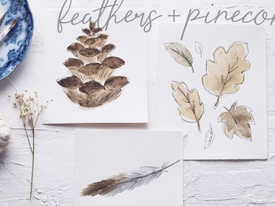 How to Paint Watercolor Feathers, Pinecones + More!