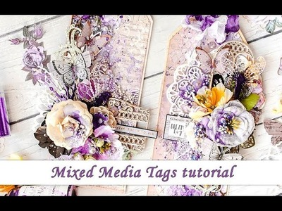 Mixed Media tags tutorial with Prima Marketing Lavender and Scrapiniec