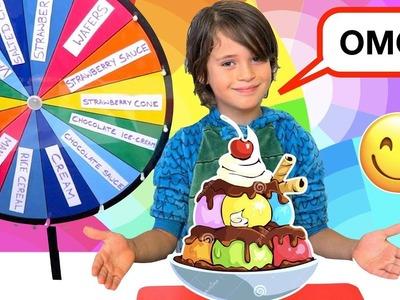 Mystery Wheel of GIANT Ice-cream Sundae ????EXTREME! YouTube Family Fun ????