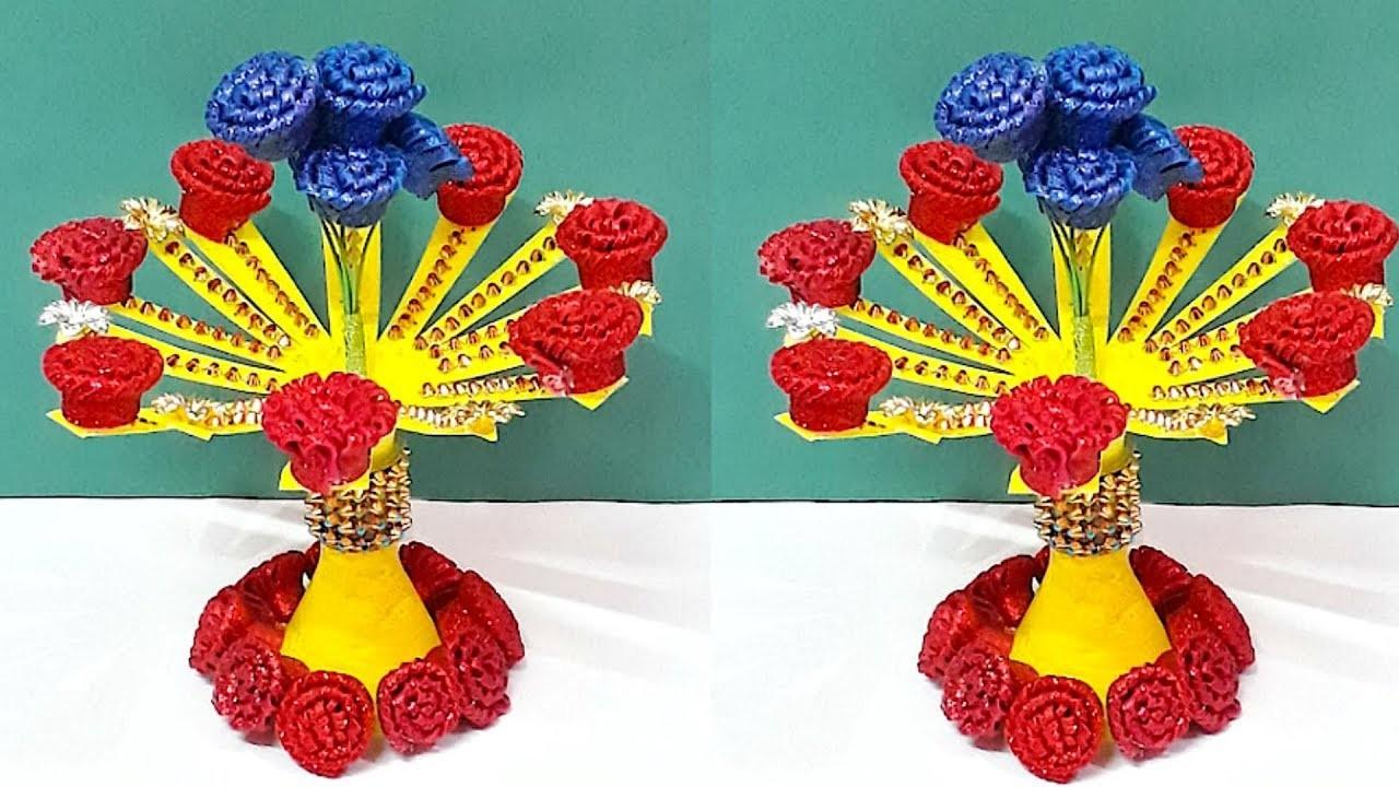 New Design Guldasta.flower vase from plastic bottle & glitter sheet at home|DIY Foam Flower Guldasta