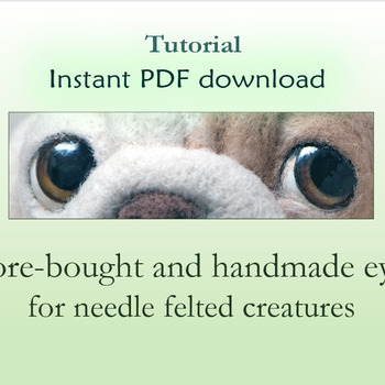 PDF tutorial How to needle felt Gift for her Needle felting pattern Safety Glass eyes for needle felted toys Step by step Craft tutorial DIY