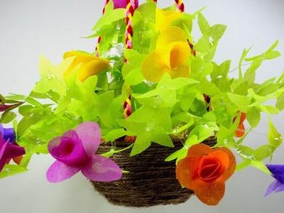 Plastic bottle flowervase. Hanging flower with bottle and shopping bag. বোতল দিয়ে ঝুলন্ত ফুলের টব