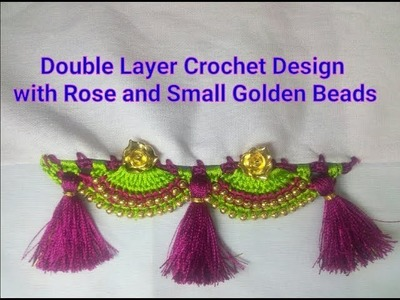Saree Kuchu Crochet Double Layer Design with Rose and Golden Beads