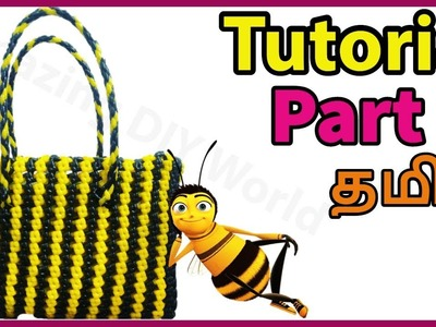 Tamil-Striped Basket Tutorial Part 2 Stripe wire koodai making  Striped Plastic wire basket weaving