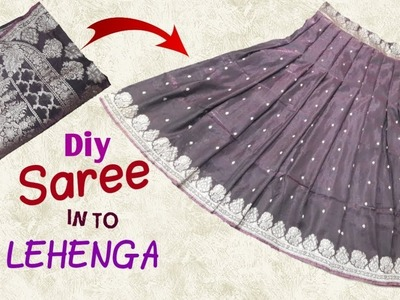 Transform old saree to designer lehenga. Diy saree convert in to lehenga