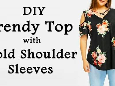 Trendy Top with Cold Shoulder Sleeves & String Neckline | Easy Way to make Cold Shoulder Sleeves