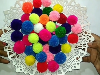 Two easy ways of making perfect pom pom at home without any pom pom making tool (in English)