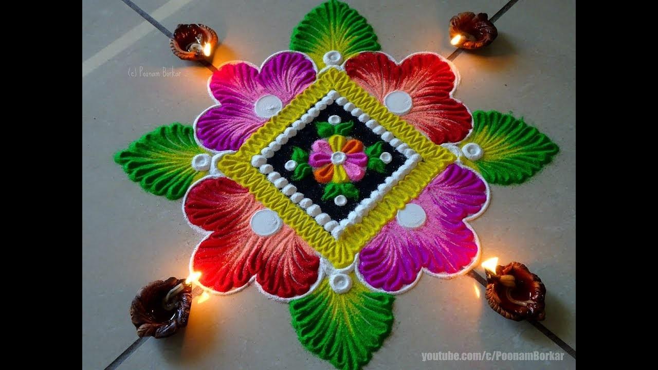 Very easy and beautiful diwali rangoli, Easy rangoli ...  Diwali Rangoli Images Designs Diwali Rangoli