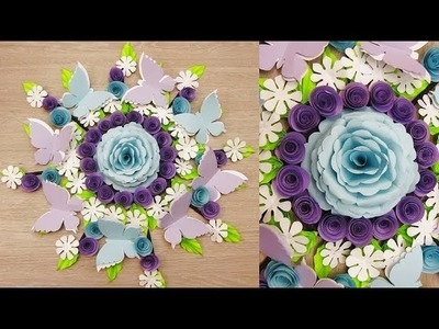 Wall Decoration Ideas | Beautiful Wall Hanging Making at Home | Paper Flower Wall Hanging ш9