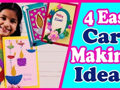 4 Easy Handmade Greeting Cards for Diwali????, How to make Cards (Diy) 2018 for kids