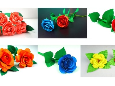 6 Easy and Beatiful Rose Paper Flowers - Flower Making - Handmade  Crafts