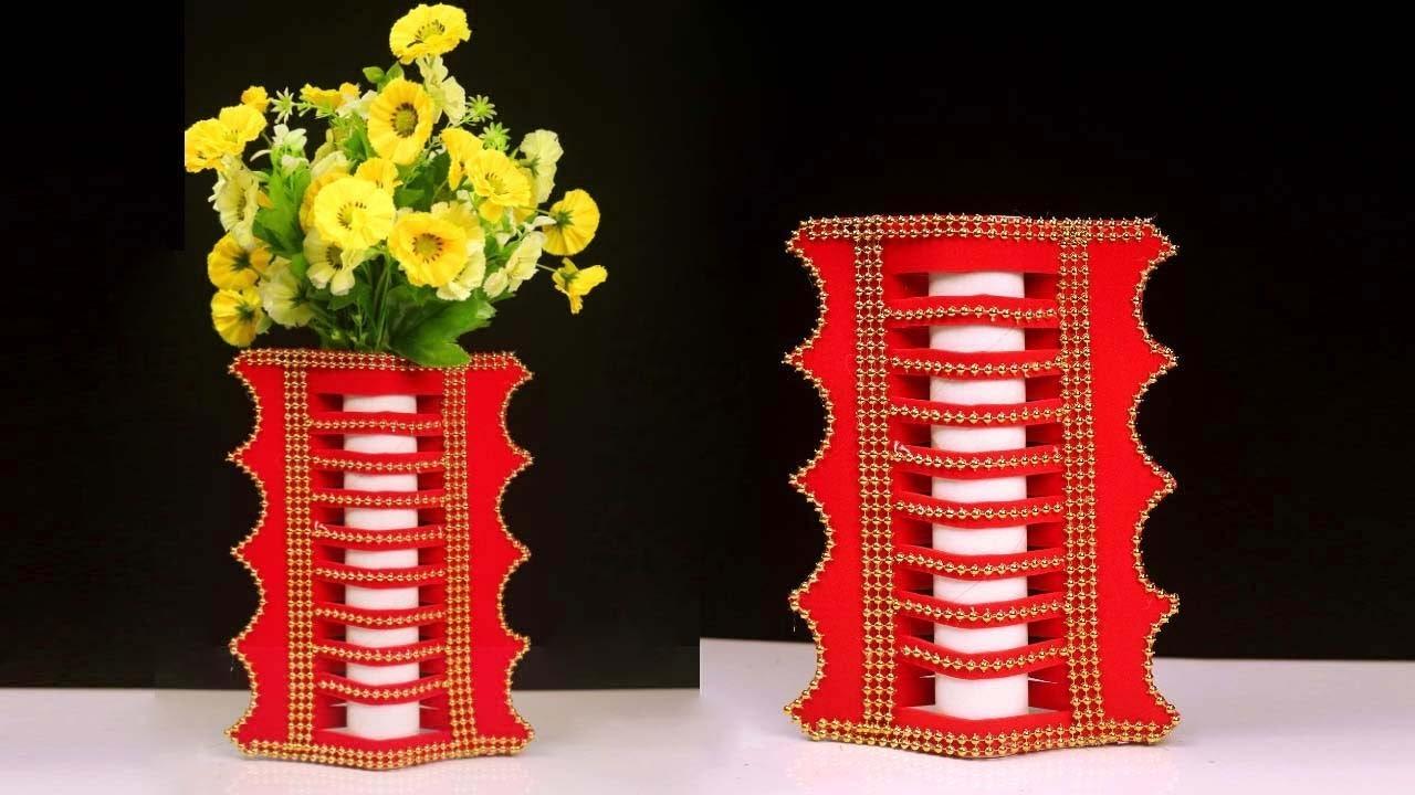 Best Out Of Waste Cardboard Roll & Paper Flower Vase || Very Easy Flower Vase Making at Home