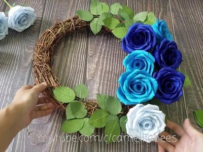Blue paper rose wreath making - Paper Flower Wreath| Papel crepe Rosa - corona de flores