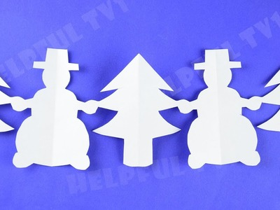 Christmas Decoration ✳ Snowmen with Christmas Trees ✳DIY paper garland (New Year)