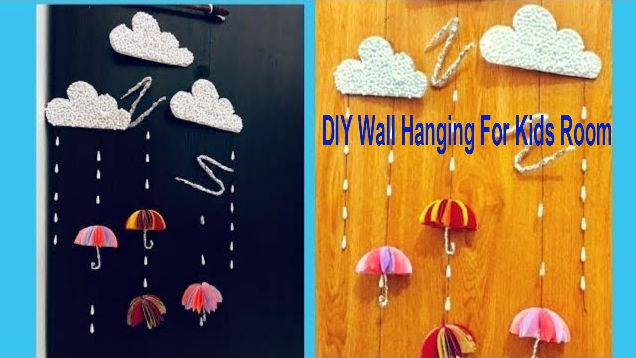 Cute Paper Umbrella Wall Hanging. Wall Decor Ideas For Kids Room