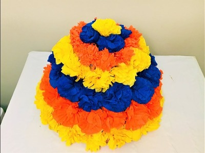 DIY Bathukamma with crepe paper | How to make Bathukamma with paper flowers