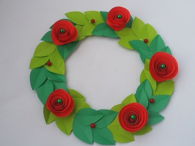DIY : Flower Wreath!!! How to Make Beautiful Paper Flower Wreath for Christmas Decoration!!!