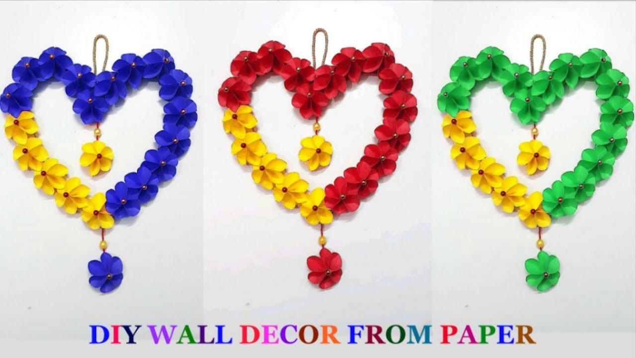 DIY-Heart shape Wall Hanging from Paper at home | DIY-Wall.room Decoration idea