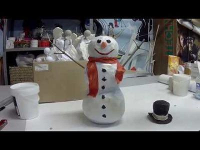 DIY: how to make a paper mache snowman