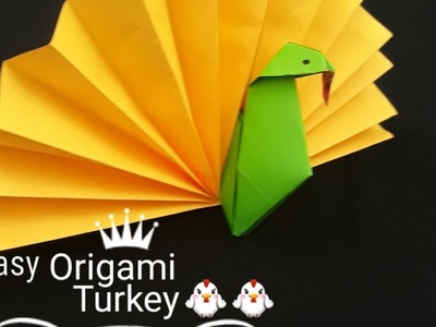 Easy Origami turkey tutorial l Easy Paper turkey making for kids